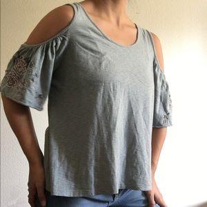 Open Shoulder , Floral Sleeve Shirt!
